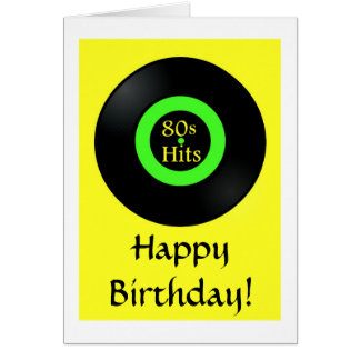 Retro birthday card Happy Birthday with record