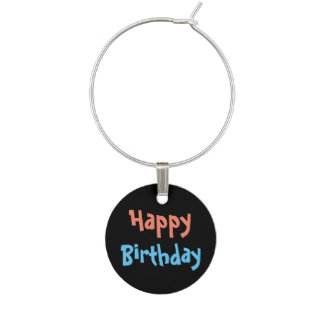 Retro Birthday Party Wine Charm