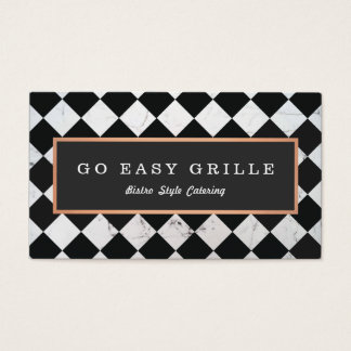 Retro Bistro Chef Catering Checkered Tile Business Card