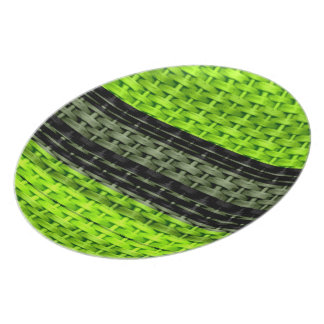 Retro black and green art wicker graphic design dinner plates