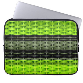 Retro black and green wicker art graphic design computer sleeves