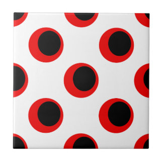 Retro Black and Red on White Polka Dot Pattern Ceramic Tile