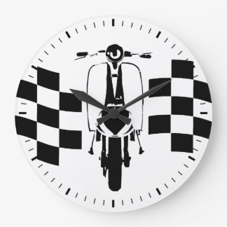 Retro Black and white check flag scooter Large Clock