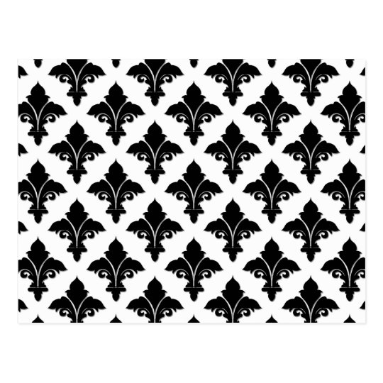 Retro Black and White Floral Pattern Postcard