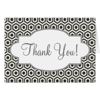 Retro Black and White Honeycomb Pattern Greeting Cards