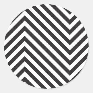 Retro Black and White Pattern Classic Round Sticker