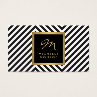 Retro Black and White Pattern Glam Gold Monogram Business Card
