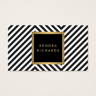 Retro Black and White Pattern Glam Gold Name Logo