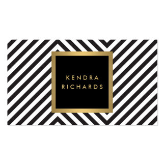 Retro Black and White Pattern Glam Gold Name Logo Pack Of Standard Business Cards