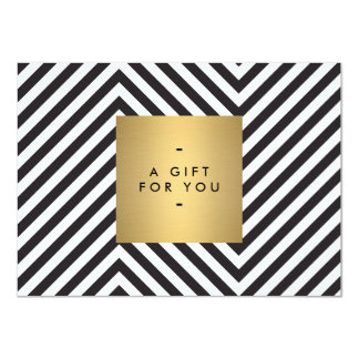 Retro Black and White Pattern Gold Name Gift Cert 11 Cm X 16 Cm Invitation Card
