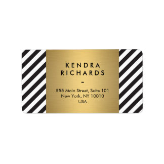 Retro Black and White Pattern Gold Name Logo Address Label