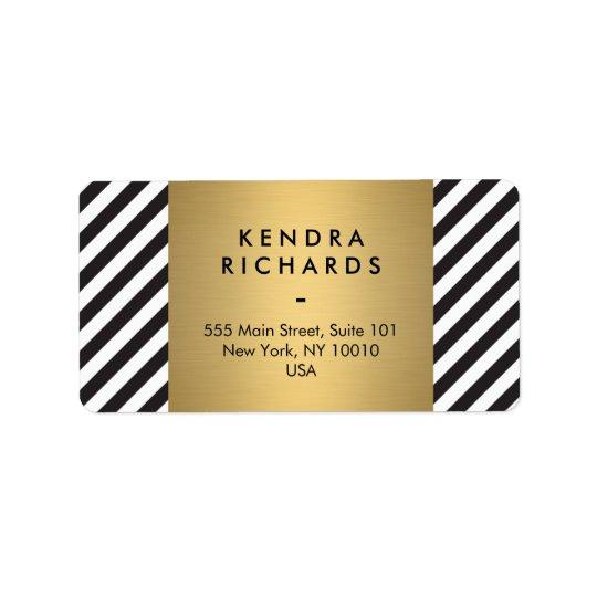 Retro Black and White Pattern Gold Name Logo Label