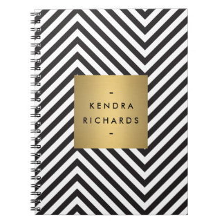 Retro Black and White Pattern Gold Name Logo Notebook