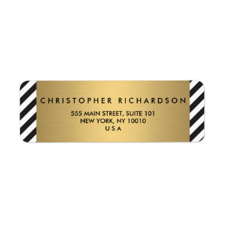 Retro Black and White Pattern Gold Name Logo Return Address Label