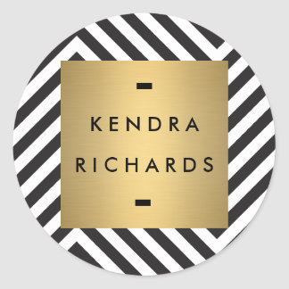 Retro Black and White Pattern Gold Name Logo Round Sticker