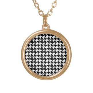 Retro black and white pattern gold plated necklace
