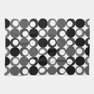 Retro Black and White Pattern Tea Towel