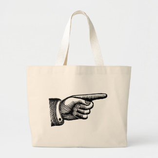 Retro Black and White Pointing Finger Canvas Bag
