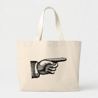 Retro Black and White Pointing Finger Jumbo Tote Bag