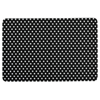 Retro black and white polka dot floor mat