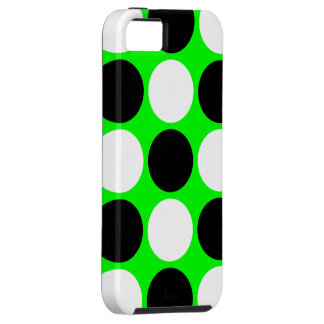 Retro Black and White Polka Dots on Neon Green iPhone 5 Covers