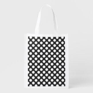 Retro Black and White Polka Dots Reusable Grocery Bag