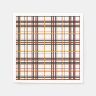 Retro Black, Brown & Orange Plaid Disposable Serviettes