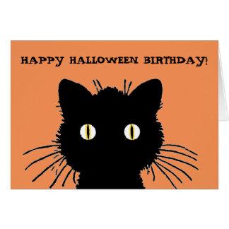 Retro Black Cat Happy Halloween Birthday Card