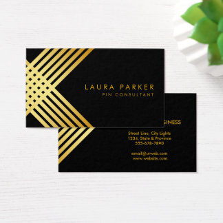Retro Black Gold Geometrical Finance Construction Business Card
