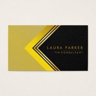 Retro Black Gold Geometrical Finance Construction Business Card