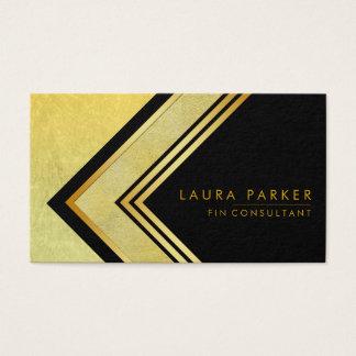 Retro Black Gold Geometrical Finance Modern Business Card