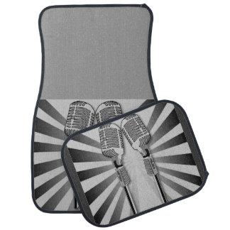 Retro Black Gray Microphone Sound Waves Stripes Car Mat