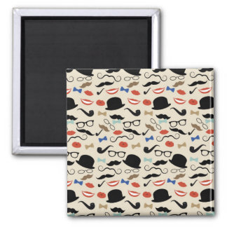 Retro Black Handlebar Mustache Pattern Square Magnet