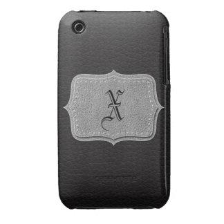 Retro Black Leather Personalized Monogram iPhone 3 Cases