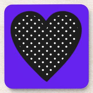 Retro Black Polka Dot Heart on Purple Background Coasters