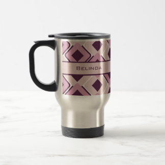 Retro Black Rose and Blossom Diamonds Travel Mug