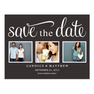 RETRO BLACK | SAVE THE DATE ANNOUNCEMENT POSTCARD