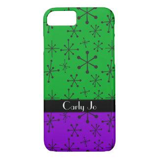 Retro Black Stars w/ Green & Purple, Personalized iPhone 8/7 Case