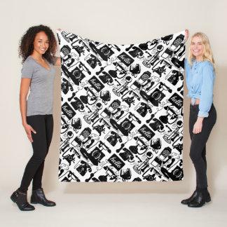Retro Black Telephone Pattern Fleece Blanket