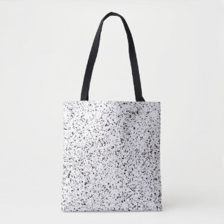 Retro Black & White Abstract Paint Splatter Dots Tote Bag