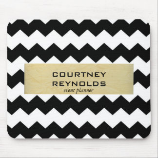 Retro Black White and Beige Chevron Pattern Mouse Pad