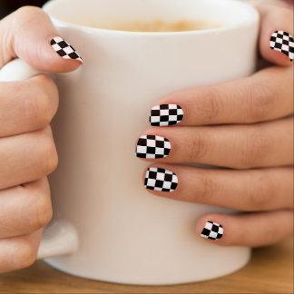 Retro Black/White Contrast Checkerboard Pattern Minx Nail Art