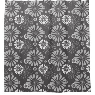 Retro Black White daisy Pattern Shower Curtain