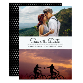 Retro Black & White Dots Two Photo Save the Date Card