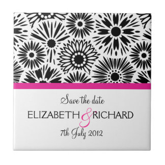 "Retro black white flowers ""Save the date"" Tile"