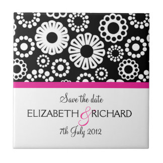 Retro black white flowers Save the date Tile