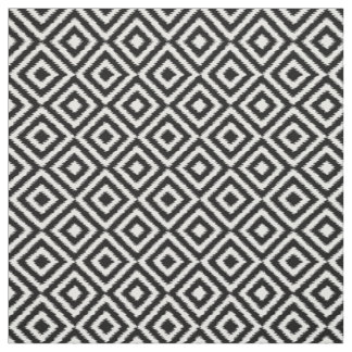 Retro Black White Ikat Diamond Squares Pattern Fabric