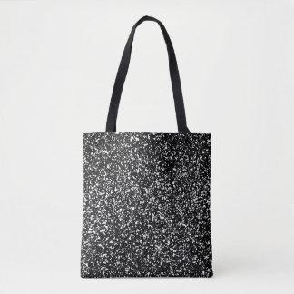 Retro Black & White Starry Night Paint Splatter Tote Bag