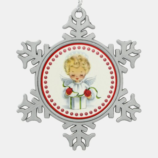 Retro Blonde Angel Wrapping Christmas Gift Ornaments