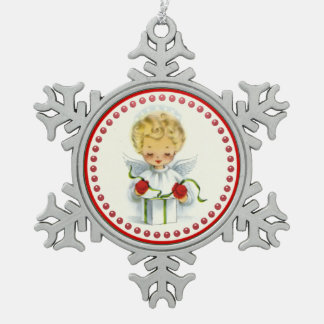 Retro Blonde Angel Wrapping Christmas Gift Snowflake Pewter Christmas Ornament